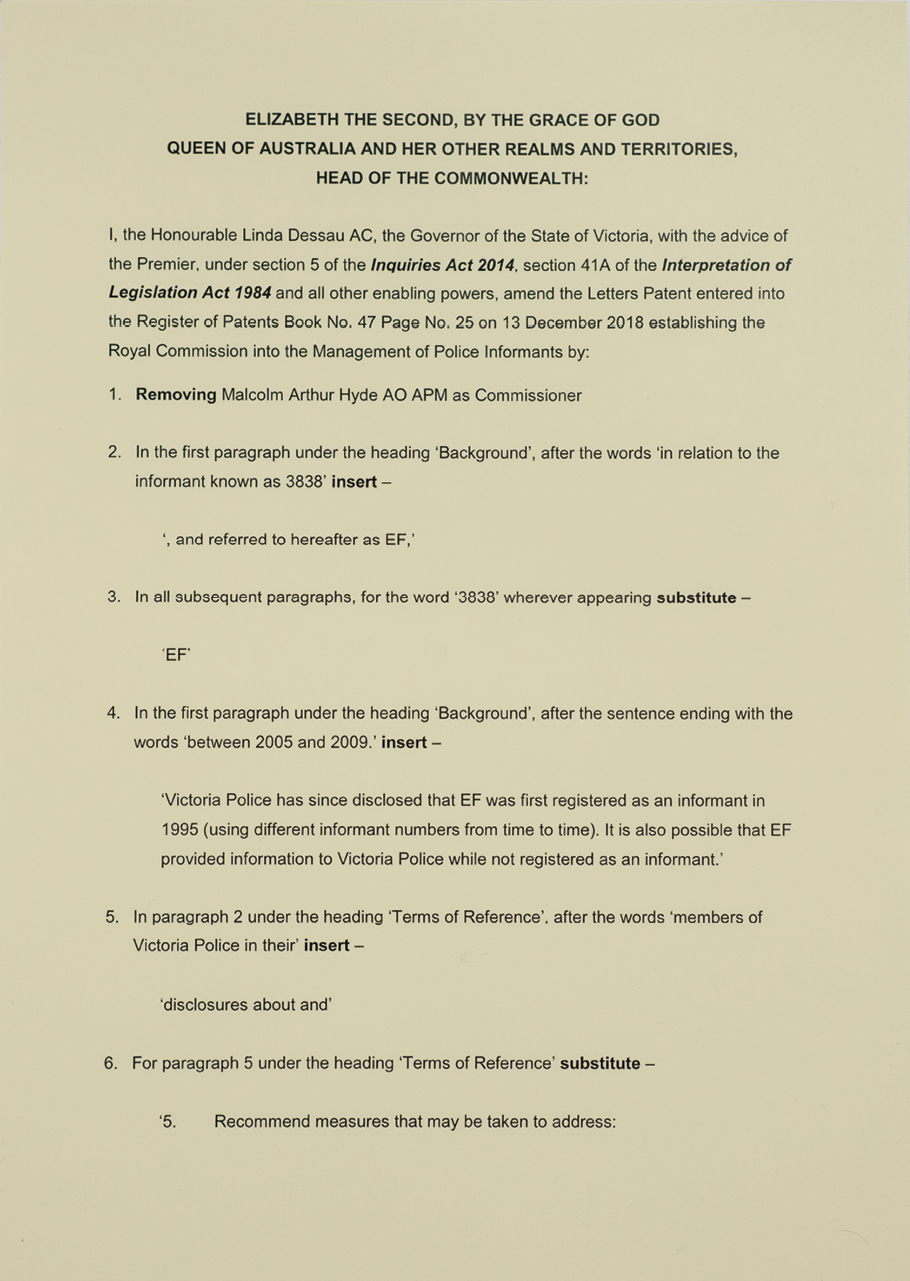 Amendments to Letters Patent